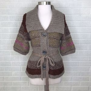 Free People Button Cardigan Sweater Tie Waist M